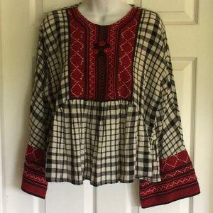ZARA embroidery boho blouse